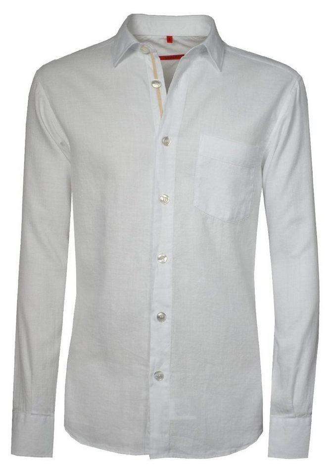 Signum Weiches Langarmhemd mit bewegter Oberfläche in optical white
