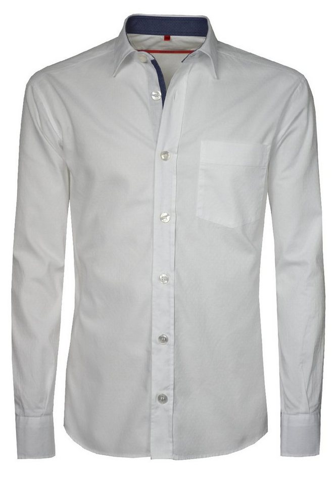 Signum Langarmhemd mit kleinem Muster in optical white
