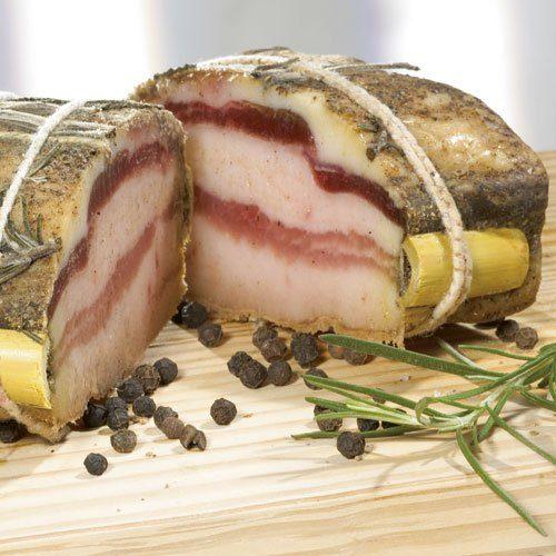Falorni Pancetta mit frischen Kräutern aus der Toskana, im Stück
