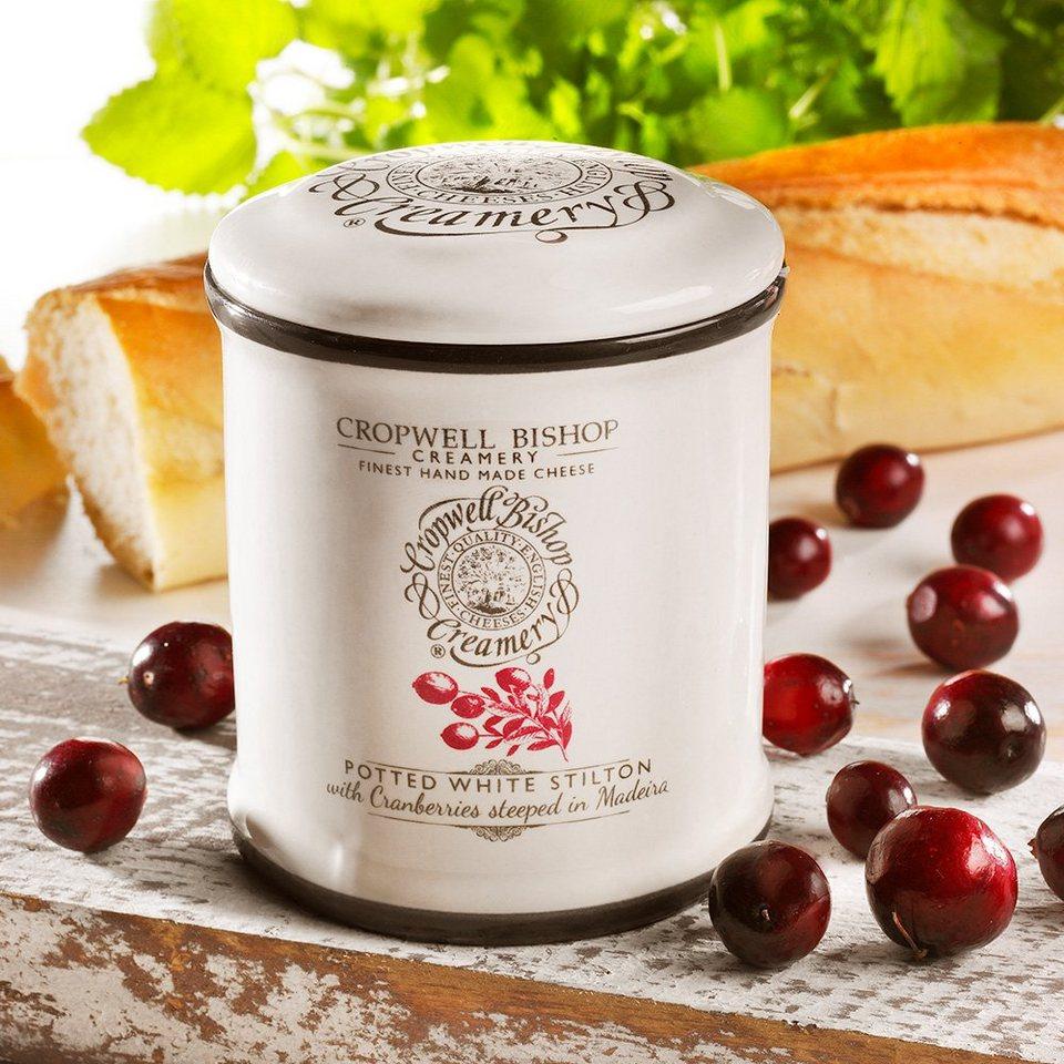 Cropwell Käse White Stilton mit Cranberries im Tontopf