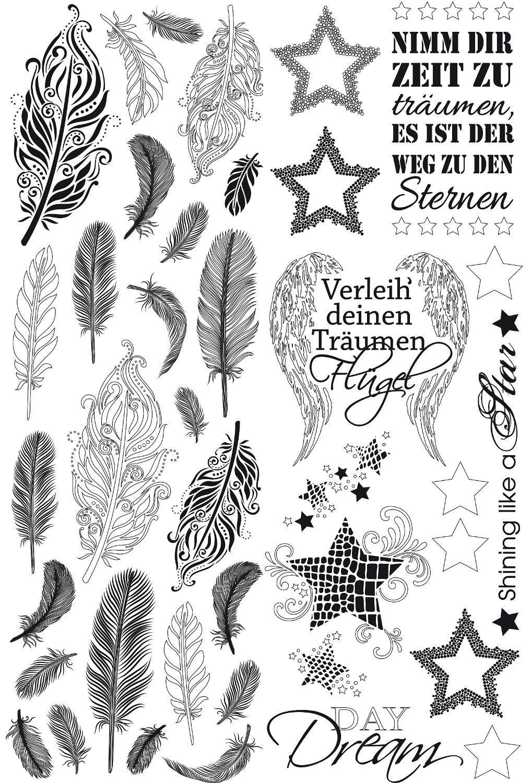 """Motivfolien """"Federn & Sterne"""" 2er-Set"""