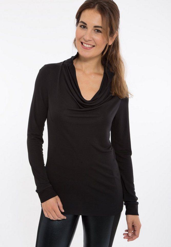Mexx Langarmshirt mit Wasserfallausschnitt in schwarz
