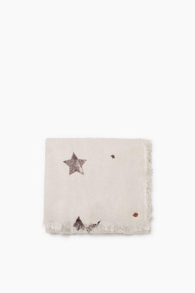 EDC Kuschelweicher Schal mit Sternen in CREAM BEIGE