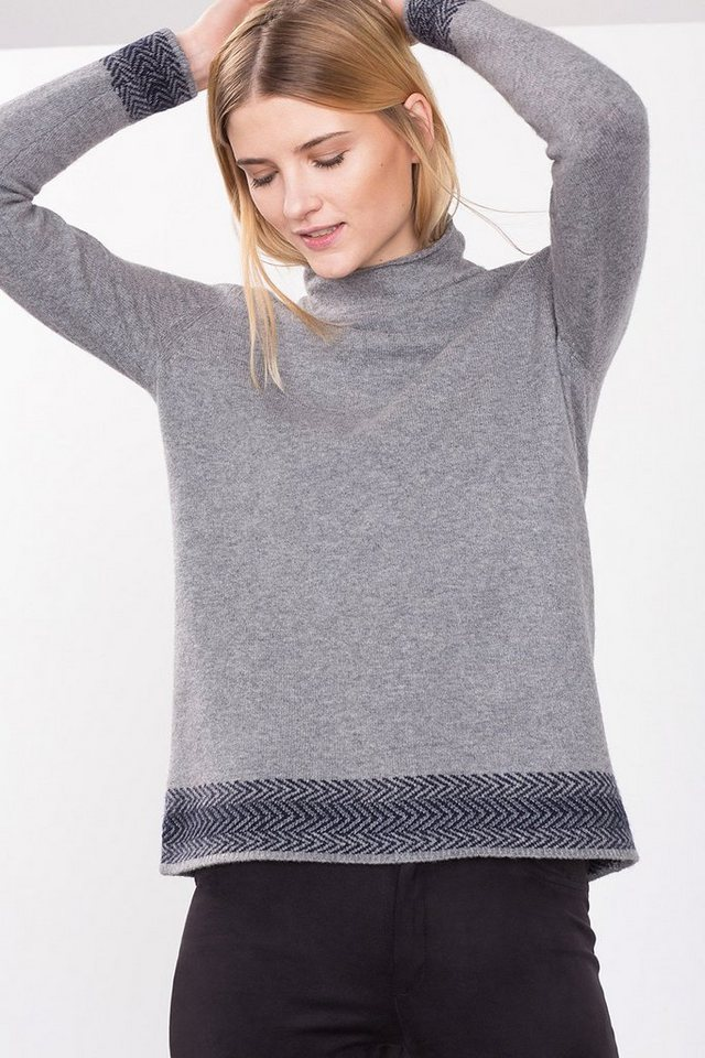 ESPRIT CASUAL Pulli mit Intarsien-Bordüren, Woll-Mix in GREY