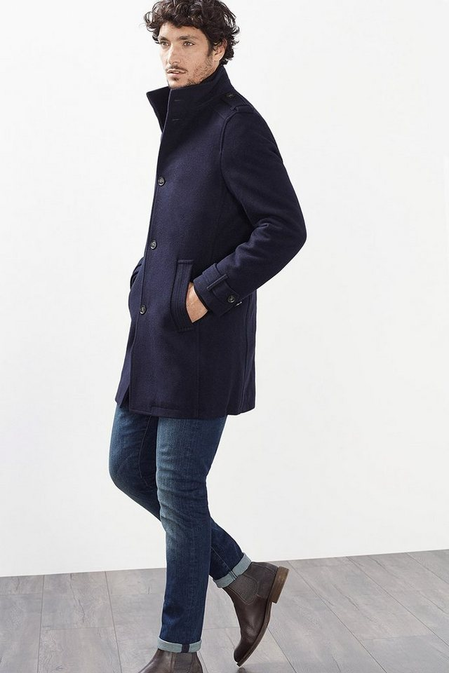 ESPRIT CASUAL Wattierter Woll Mantel mit Zip-Off-Einsatz in NAVY
