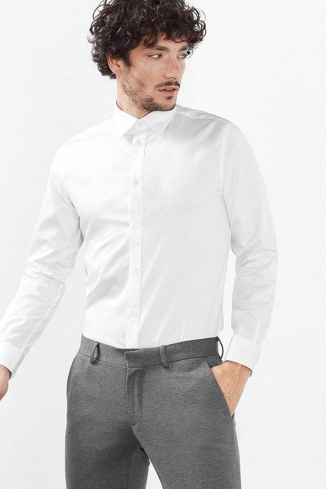ESPRIT COLLECTION Hemd mit Minimal-Print, 100% Baumwolle in WHITE