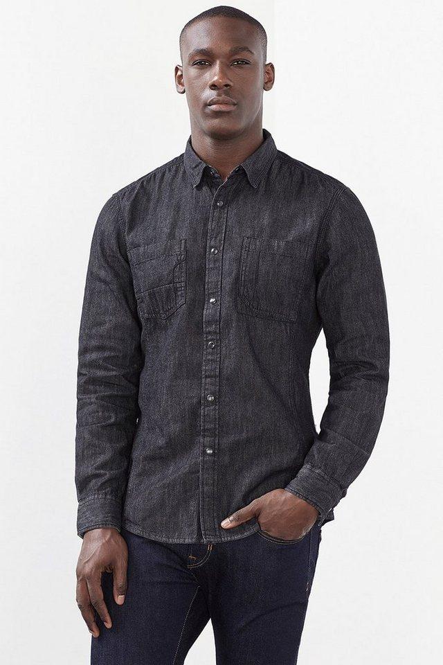EDC Denim Hemd, 100% Baumwolle in BLACK MEDIUM WASHED