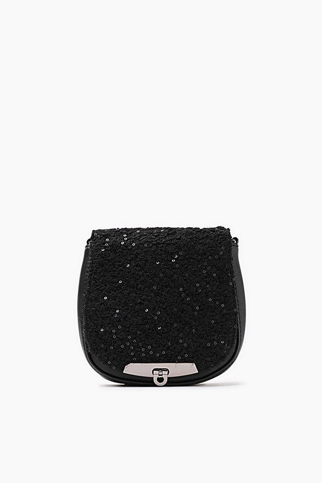 ESPRIT CASUAL Tasche mit Bouclé-Besatz und Pailletten in BLACK