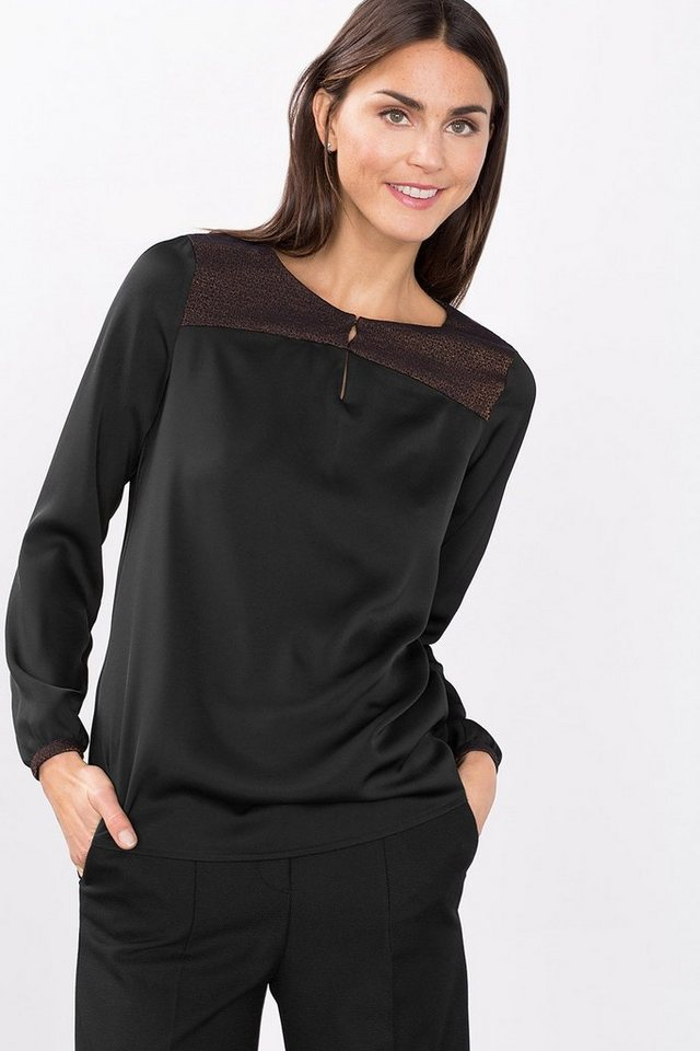 ESPRIT COLLECTION Fließende Shiny Bluse mit Jacquardbesatz in BLACK