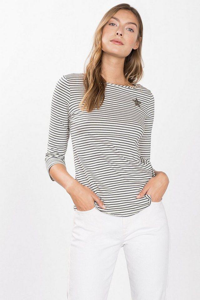 ESPRIT CASUAL Stretch-Shirt mit Glitzer-Applikation in OFF WHITE
