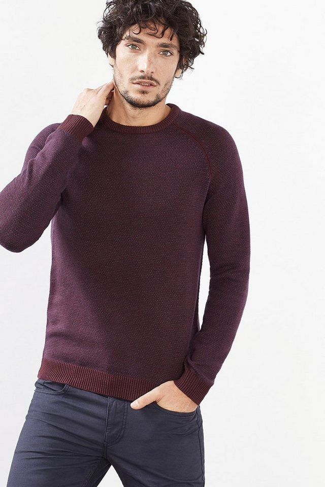 ESPRIT CASUAL Baumwoll-Mix Pulli mit tonigem Muster in BORDEAUX RED