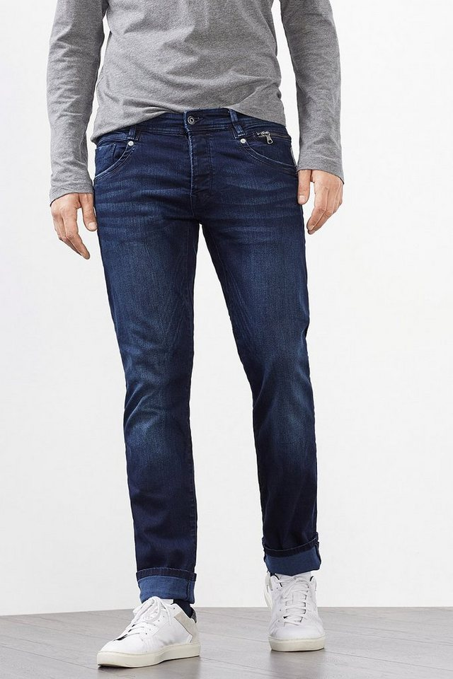 EDC Used 6-Pocket Stretch-Jeans in BLUE DARK WASHED