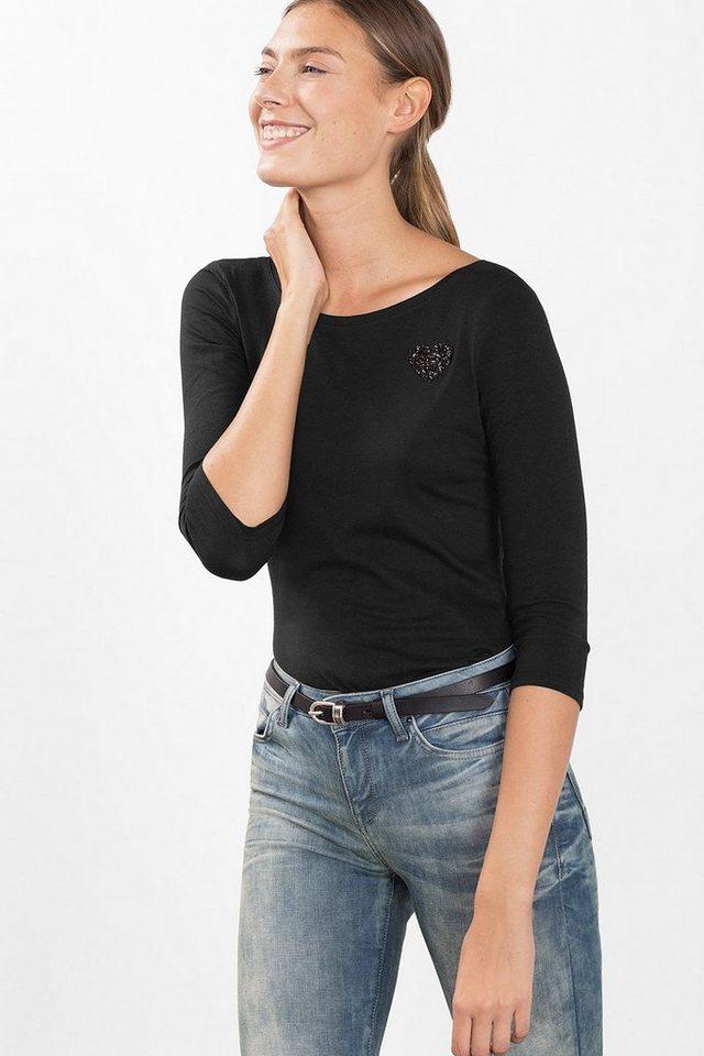 ESPRIT CASUAL Stretch-Shirt mit Glitzer-Applikation in BLACK