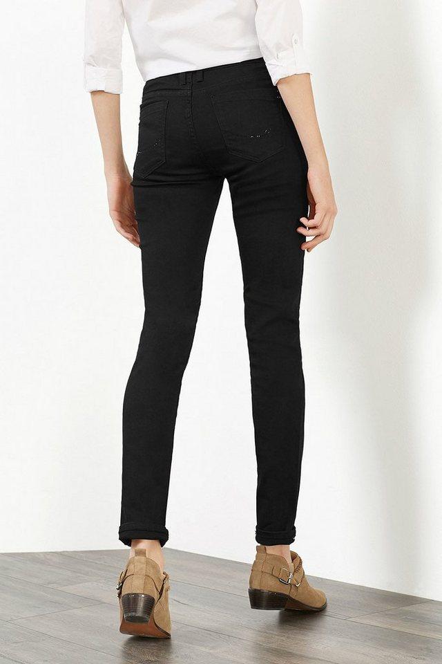 EDC Stretch-Jeans mit Glitzersteinchen in BLACK RINSE