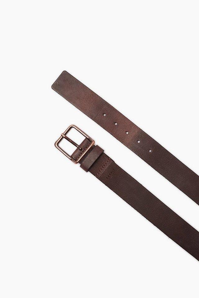 ESPRIT CASUAL Basic Ledergürtel mit Metallschließe in BROWN GREY