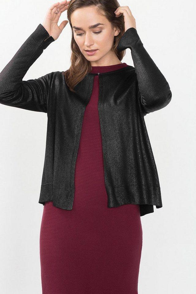 ESPRIT CASUAL Cardigan mit Folien-Print in BLACK