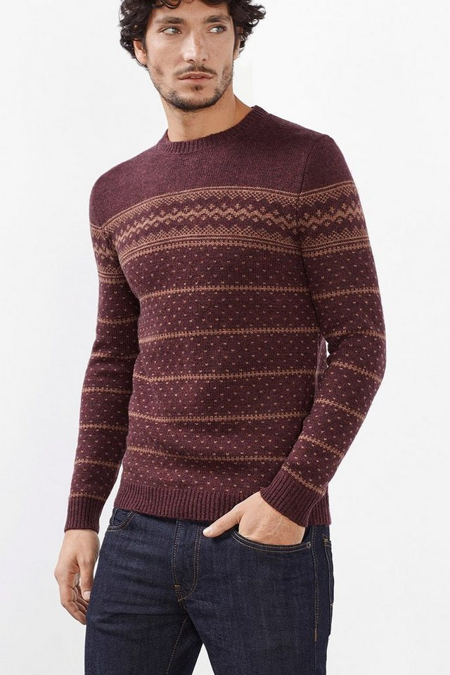 ESPRIT CASUAL Woll-Mix Pulli mit nordischem Muster in BORDEAUX RED