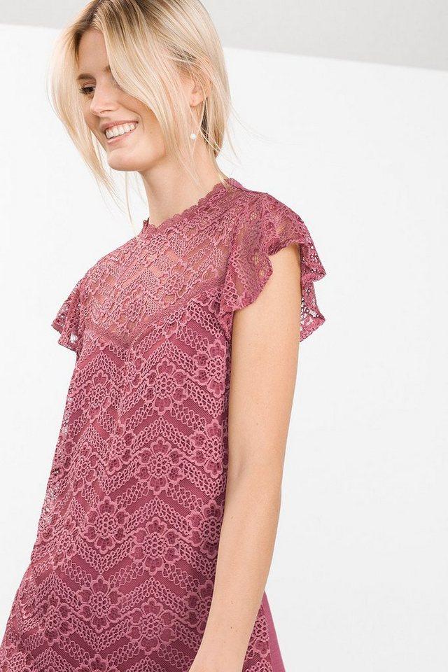 ESPRIT CASUAL Spitzen-Shirt mit integriertem Top in GARNET RED