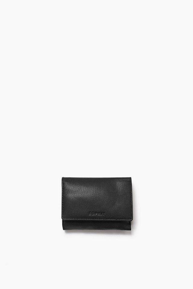 ESPRIT CASUAL Ziegenlederbörse mit Logo und Beutel in BLACK