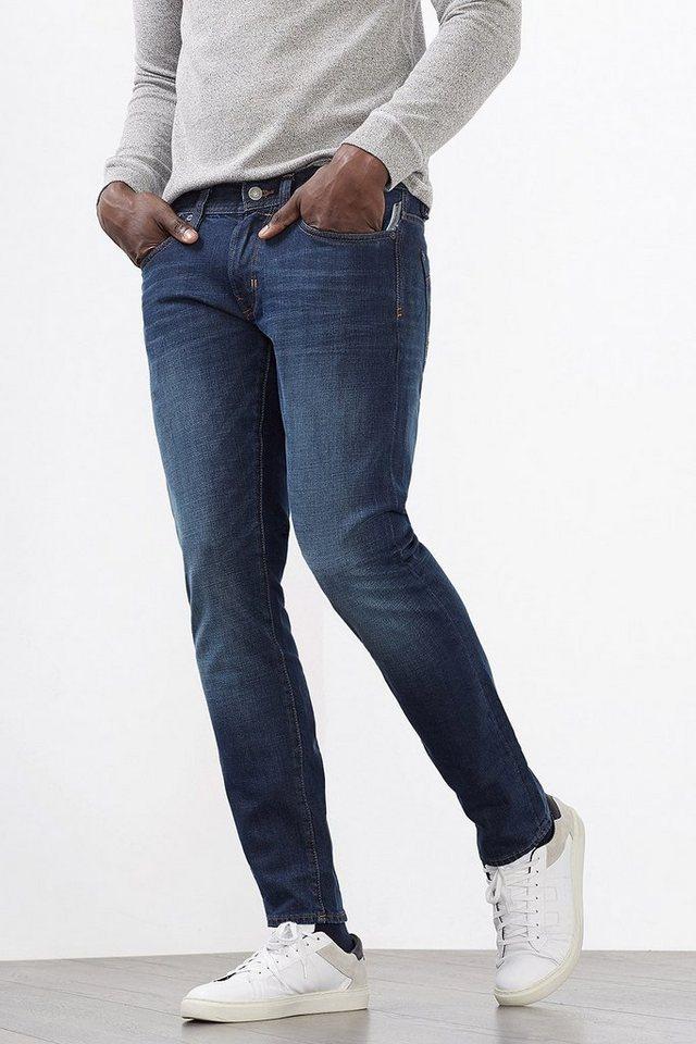EDC 5-Pocket-Jeans aus Stretch-Denim in BLUE DARK WASHED