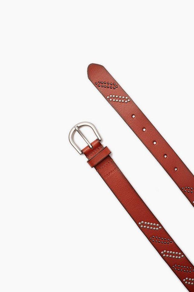 ESPRIT CASUAL Ledergürtel mit Nietenbesatz in RUST BROWN