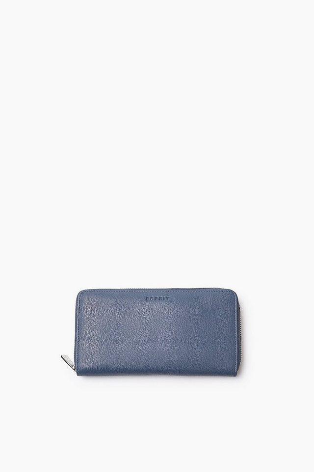 ESPRIT CASUAL Zip Clutch aus weichem Ziegenleder in GREY BLUE