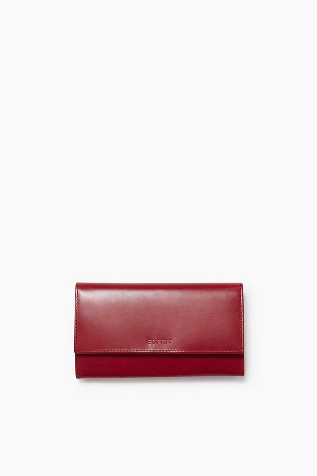 ESPRIT CASUAL Clutch Börse aus glattem Rindsleder in CHERRY RED