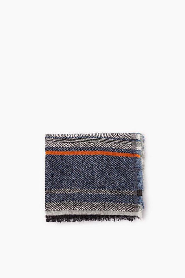 ESPRIT CASUAL Webschal aus Baumwoll-Mix mit Wolle in INK