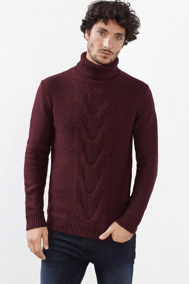 ESPRIT CASUAL Grobstrick Rolli mit Zopfmuster, Woll-Mix in BORDEAUX RED