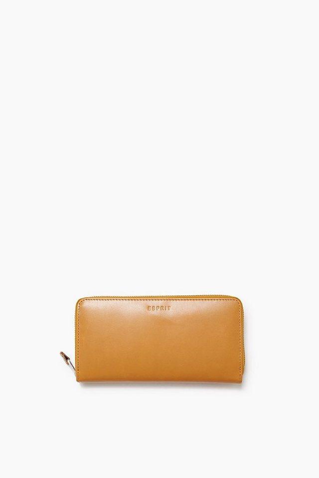 ESPRIT CASUAL Zip Clutch aus glattem Rindsleder in HONEY YELLOW