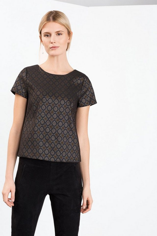 ESPRIT COLLECTION Stretch Shirt aus Glanz-Jacquard in BLACK