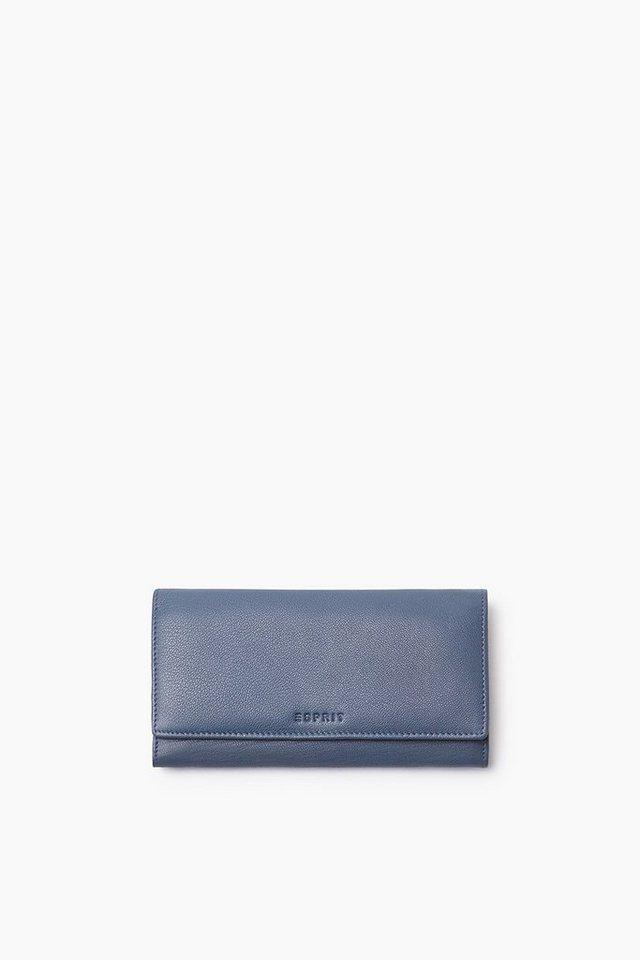 ESPRIT CASUAL Clutch Börse aus weichem Ziegenleder in GREY BLUE
