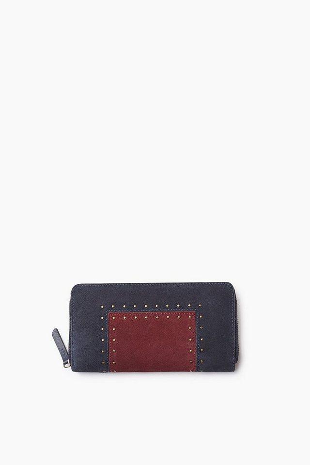 ESPRIT CASUAL Colorblock Zip Clutch aus Veloursleder in RUST BROWN