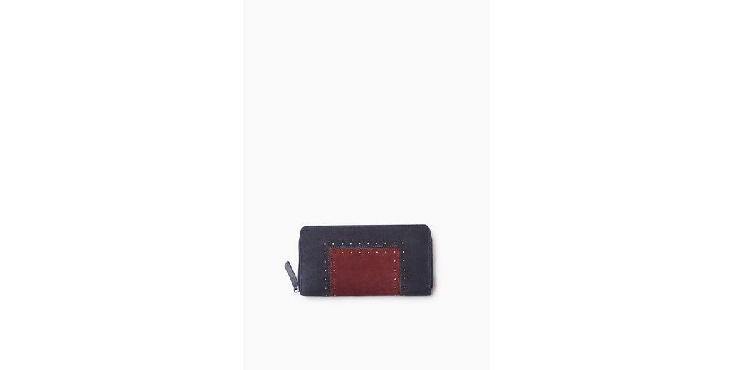 ESPRIT CASUAL Colorblock Zip Clutch aus Veloursleder