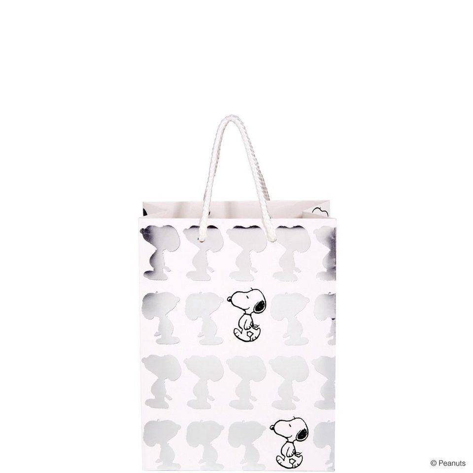 BUTLERS PEANUTS »Geschenktasche shiny Snoopy klein« in weiss-silber