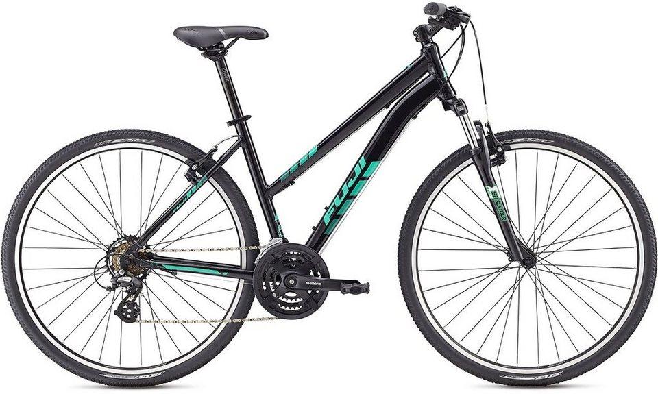 Fuji Herren Crossrad, 28 Zoll, 21 Gang Shimano Altus Kettenschaltung, »Traverse 1.9« in schwarz-dunkelgrau