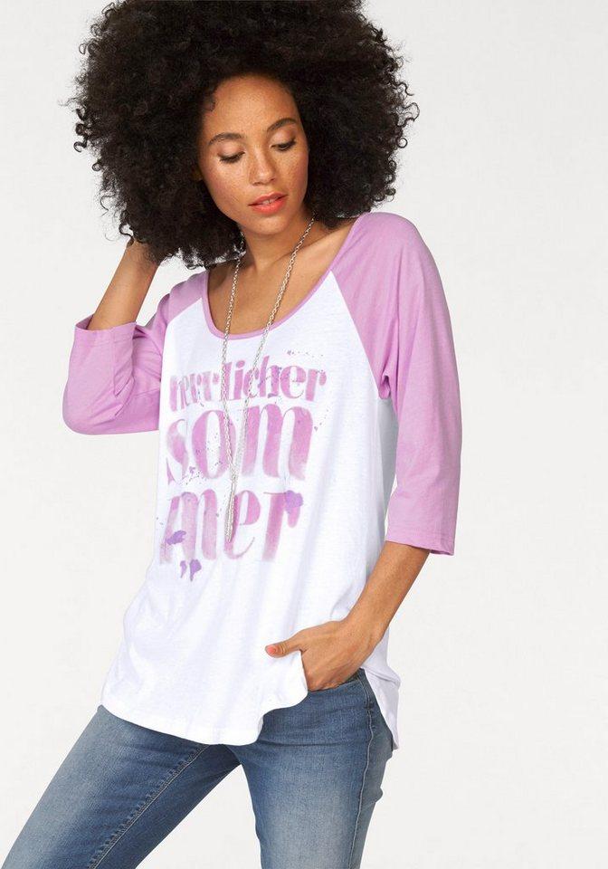 Herrlicher 3/4-Arm-Shirt »Emilia« mit großem Frontprint in rosa-weiß
