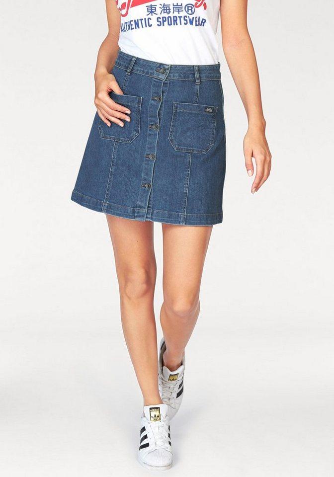 Superdry Jeansrock »A-Line Jeans-Mini« vorne durchgeknöpft in light-blue