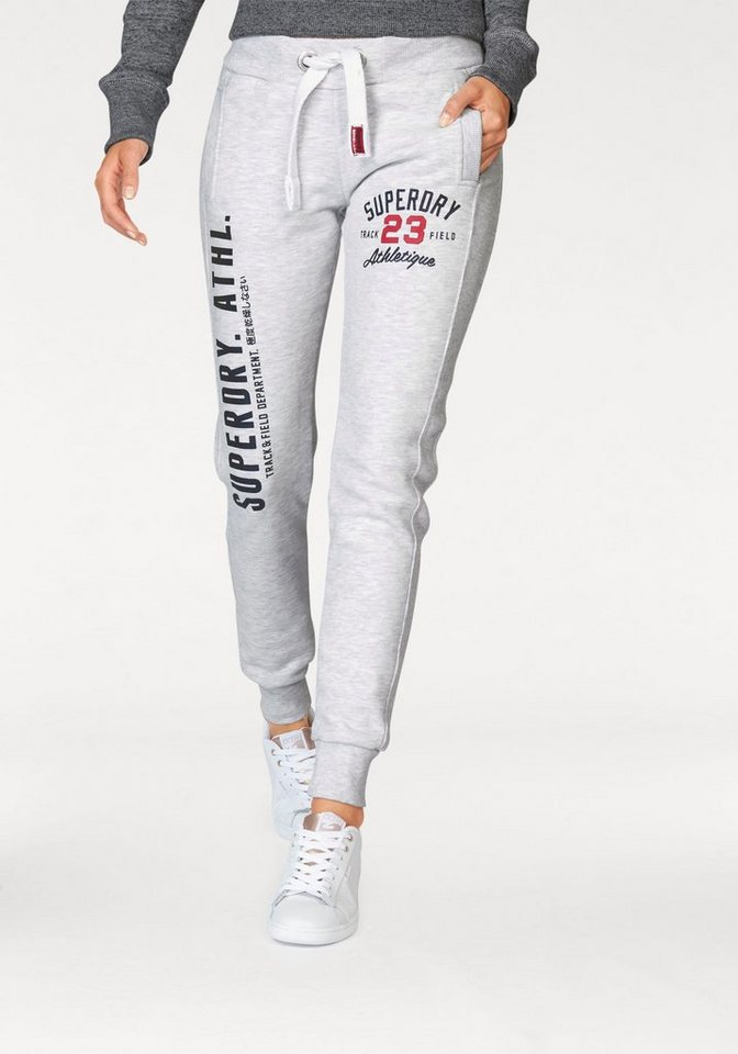 Superdry Jogginghose »Track & Field Jogger« mit Logo Print auf den Beinen in weiß-meliert