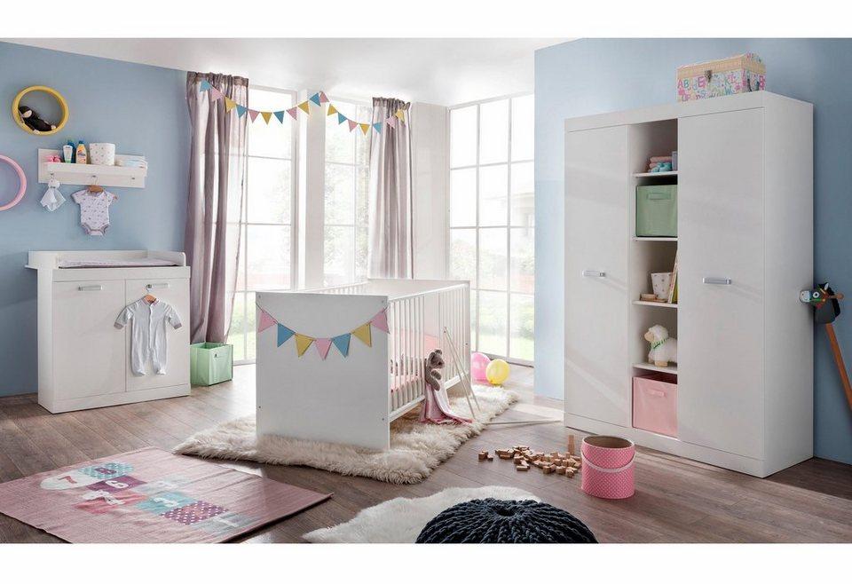 Komplettzimmer »Amsterdam« Babybett + Wickelkommode + großer Kleiderschrank, (3-tlg.) in weiß in weiß