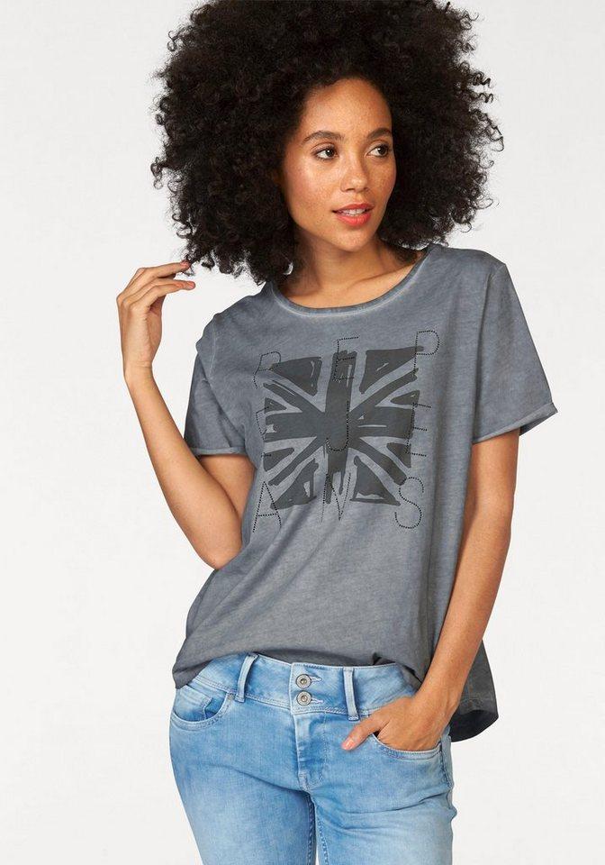 Pepe Jeans T-Shirt »Mati« Mit Strass-Steinen in grau