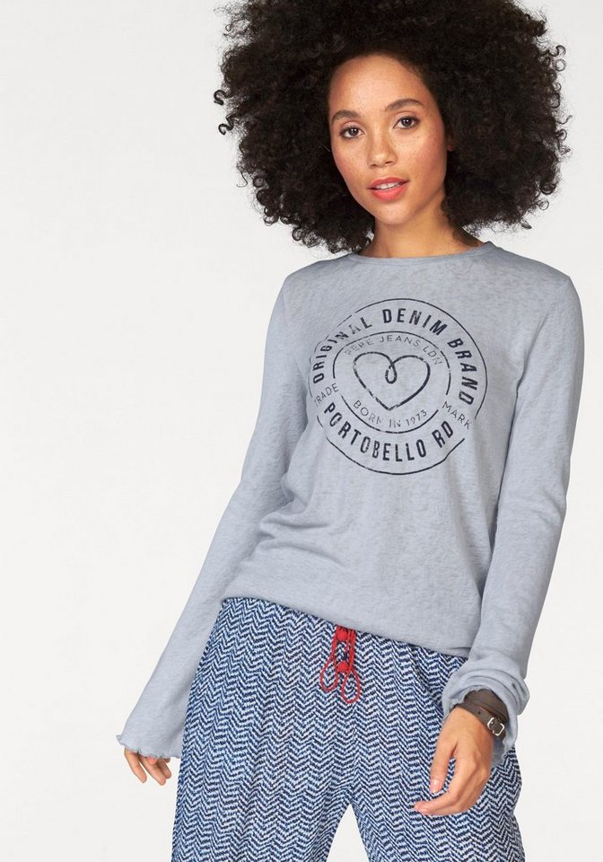 Pepe Jeans Strickpullover »Becca« mit Frontprint in hellgrau