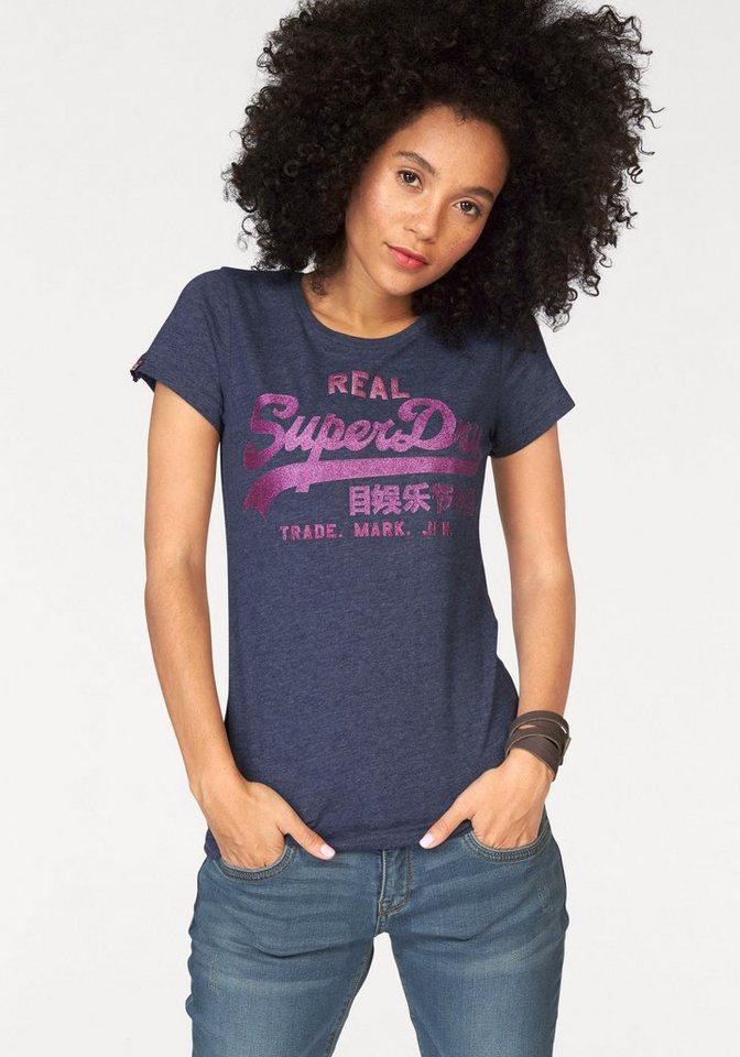 Superdry T-Shirt »Vintage Logo Trei Entry Tee« mit Glitzer Logo Print in blau