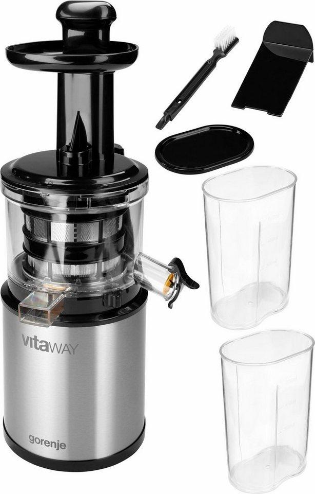 Gorenje Entsafter VitaWay SlowJuicer JC4800VWY, 200 Watt in edelstahl-schwarz