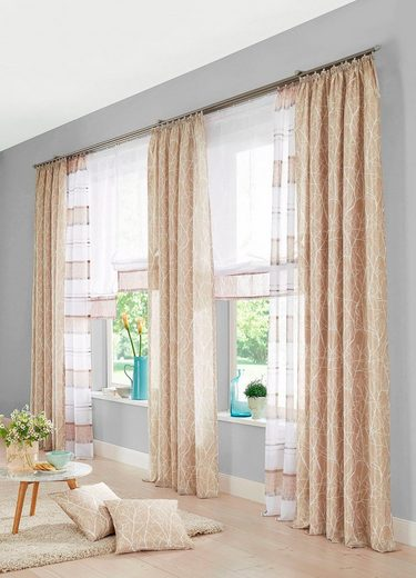Vorhang »Camposa«, my home, Kräuselband (2 Stück), Gardine, Fertiggardine, halbtransparent
