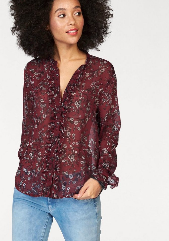 Pepe Jeans Chiffonbluse »Pina« mit Blumen Allover Muster in rot