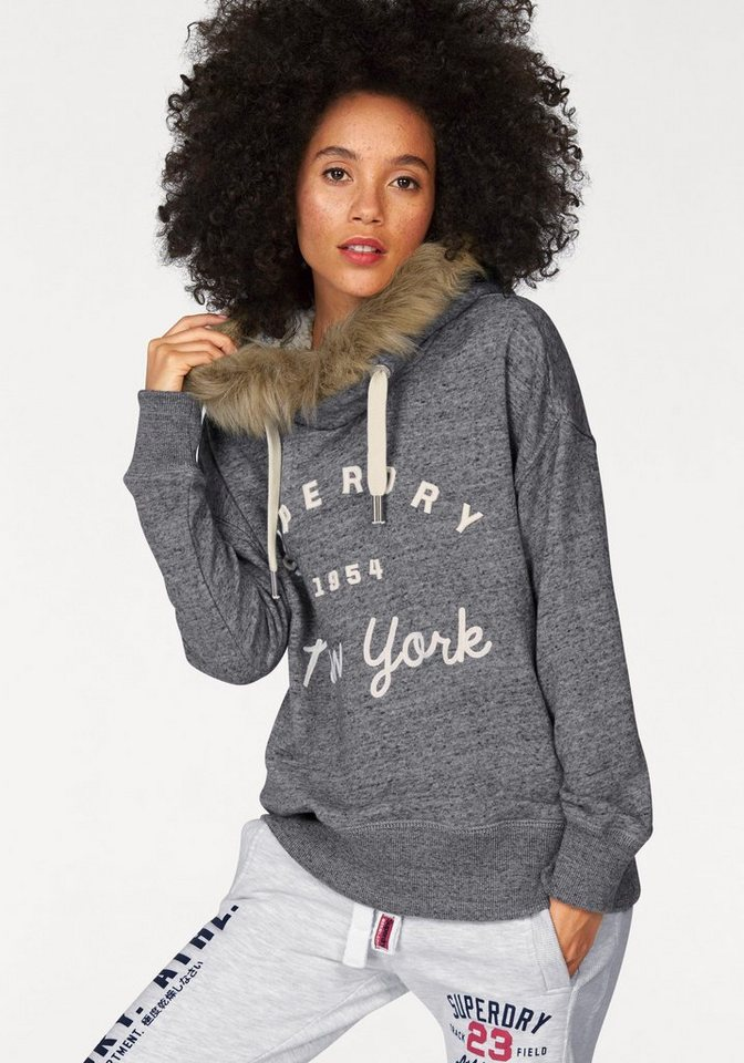 Superdry Kapuzensweatshirt »SUPERDRY APPLIQUE FUR HOOD« mit Fellimitat in dunkelgrau-meliert