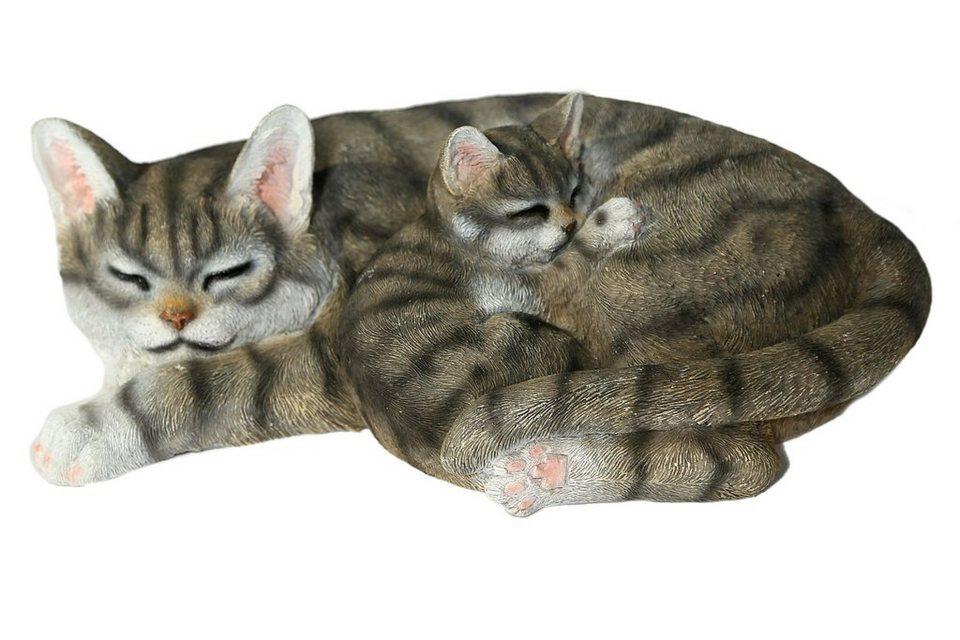 Home affaire Dekofigur »Katze mit jungen liegend« in grau/schwarz/weiß