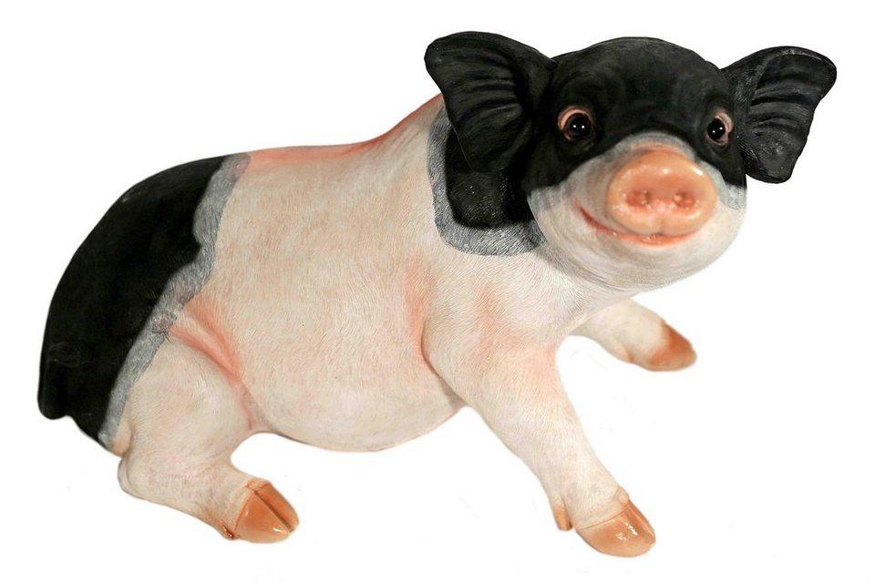Home affaire Dekofigur »Schwein sitzend« in rosa/schwarz
