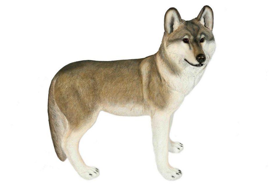 Home affaire Dekofigur »Wolf stehend« in grau/weiß